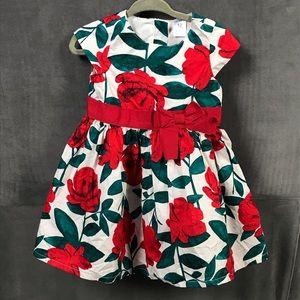 Carter's Floral Cap-Sleeve Christmas Dress, 12 mos